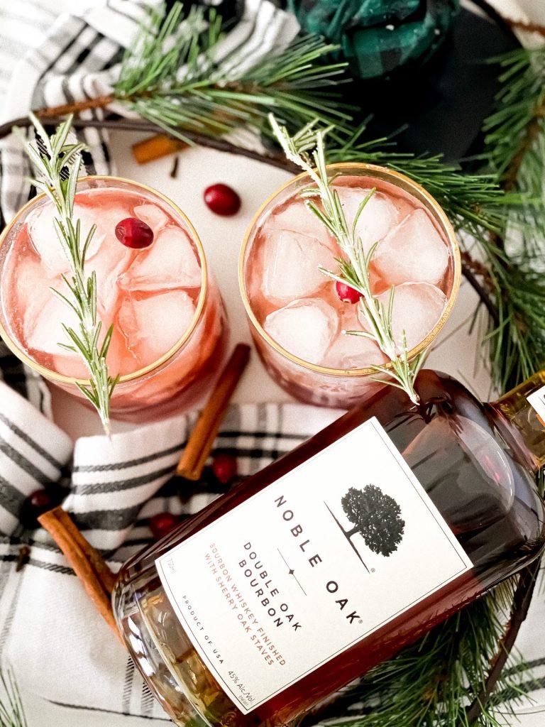 bourbon cranberry spice cocktail made with Noble Oak Bourbon